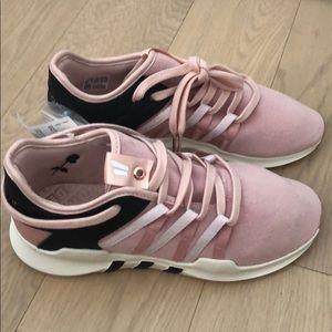 Adidas Fruition x Overkill pink velvet sneakers